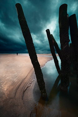 David Keochkerian MAN ON BEACH WITH OLD POSTS Men