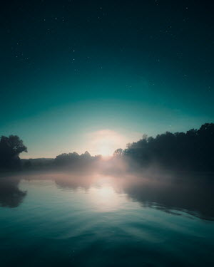 David Keochkerian MISTY LAKE AT SUNSET WITH STARS Lakes/Rivers