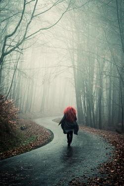 Carmen Spitznagel WOMAN RUNNING IN FOREST ROAD Women