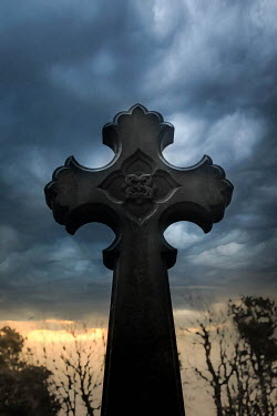 Vesna Armstrong STONE CRUCIFIX WITH STORMY SKY Statuary/Gravestones
