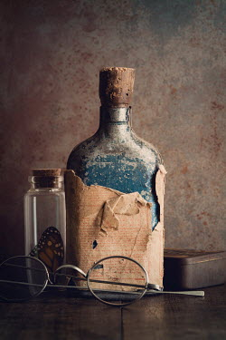Amy Weiss OLD BOTTLES WITH BUTTERFLY AND GLASSES Miscellaneous Objects