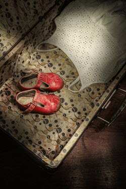 Magdalena Russocka child's shoes and dress in retro suitcase Miscellaneous Objects