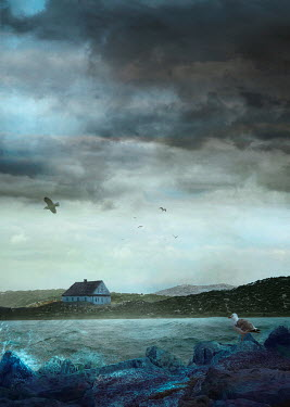 Drunaa House on island with stormy sky