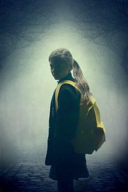 Lee Avison schoolgirl with rucksack in fog