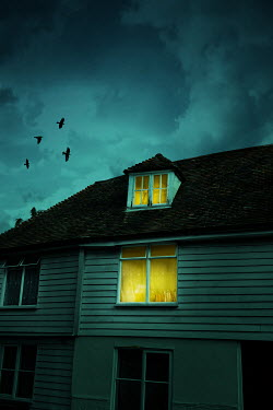 Stephen Mulcahey WEATHERBOARD HOUSE WITH LIGHTS ON Houses