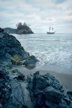 Jill Battaglia ROCKY COAST WITH HISTORICAL SHIP Boats