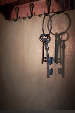 Peter Chadwick OLD KEYS HANGING ON HOOK INDOORS Miscellaneous Objects