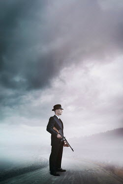 Ysbrand Cosijn RETRO MAN WITH GUN ON FOGGY ROAD Men