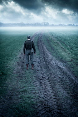 Ysbrand Cosijn SOLDIER STANDING IN MISTY FIELD Men