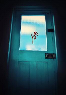 Lyn Randle BLOODY HAND PRINT ON DOOR Building Detail