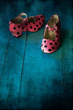 Maria Petkova pink spotty shoes on floorboards Miscellaneous Objects