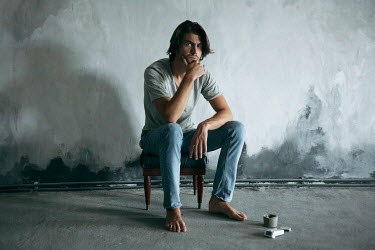 Dmitriy Bilous BARE FOOT MAN SITTING ON FOOTSTOOL Men