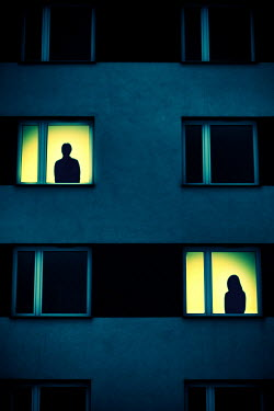 Magdalena Russocka silhouettes of man and woman in modern building windows Women