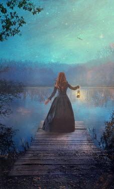 Drunaa Woman by lake at night with lantern Women