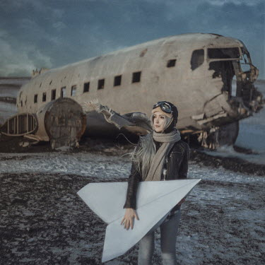 Anya Anti RETRO WOMAN PILOT HOLDING GIANT PAPER PLANE Women