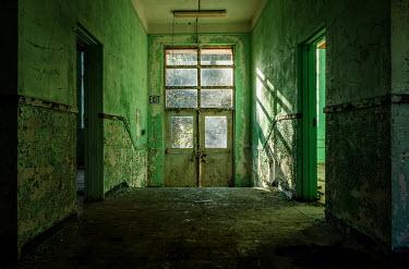 Rodney Harvey GREEN INTERIOR OF DERELICT BUILDING Interiors/Rooms