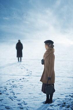 Ildiko Neer Two vintage women in snow Women