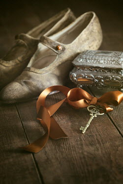 Sandra Cunningham ANTIQUE SHOES WITH SILVER BOX AND KEY Miscellaneous Objects