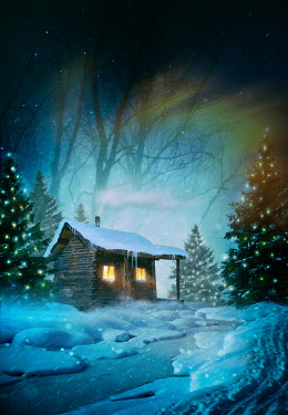 Sandra Cunningham LOG CABIN IN SNOW WITH CHRISTMAS TREES Houses