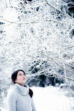 Svetlana Bekyarova WOMAN LOOKING AT SNOW COVERED TREE Women