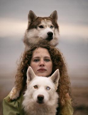 Alexandra Bochkareva WOMAN WITH TWO HUSKIES Women