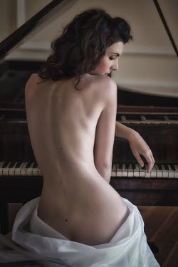 Beata Banach NUDE BRUNETTE WOMAN SITTING BY PIANO Women