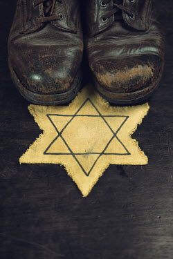 Magdalena Russocka worn man's boots and star of david