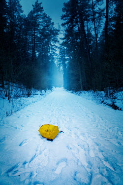 Magdalena Russocka yellow rucksack dropped on snow in forest