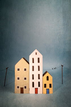 Peter Chadwick MINIATURE HOUSES WITH BIRDS ON TELEPHONE LINE Miscellaneous Objects