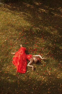 Aleah Ford WOMAN IN PARTY DRESS LYING ON GRASS Women