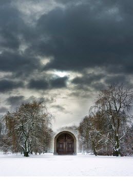 Jitka Saniova WOODEN DOORWAY IN FIELD OF SNOW Miscellaneous Buildings