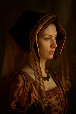 Lee Avison portrait of a tudor woman wearing a gable hood Women