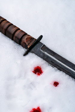 Stephen Mulcahey KNIFE LYING IN SNOW WITH DROPS OF BLOOD Miscellaneous Objects
