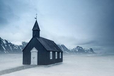 Evelina Kremsdorf SMALL CHURCH BY SNOWY MOUNTAINS