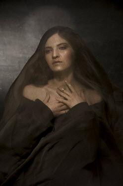 Virginia Ateh WOMAN COVERED IN BROWN VEIL IN SHADOW Women