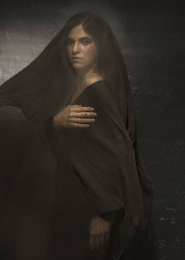 Virginia Ateh WOMAN STANDING COVERED WITH BROWN VEIL Women