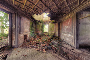 Christophe Dessaigne INTERIOR OF DERELICT BUILDING WITH COLLAPSED CEILING Interiors/Rooms