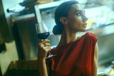 Maria Yakimova BRUNETTE WOMAN WITH GLASS OF RED WINE Women