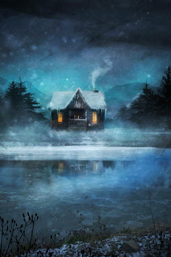 Drunaa Cabin on lake in winter Houses