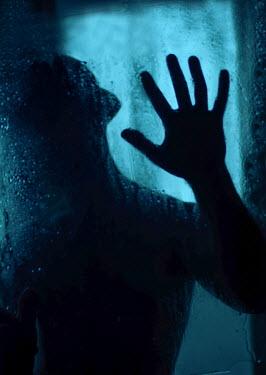 Svitozar Bilorusov SILHOUETTED MAN IN HAT TOUCHING WINDOW Men