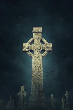 Elena Schweitzer CELTIC CROSSES IN GRAVEYARD AT NIGHT Statuary/Gravestones