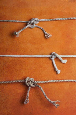 Kelly Sillaste THREE KNOTS OF STRING ON ORANGE BACKGROUND Miscellaneous Objects