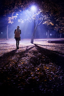 Lee Avison schoolgirl walking alone in a park at night
