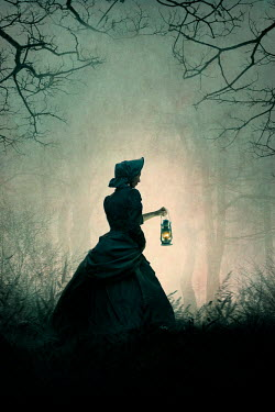 Lee Avison victorian woman carrying an oil lamp at night