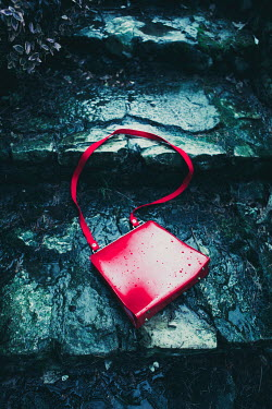 Magdalena Russocka woman's red handbag dropped on stone steps