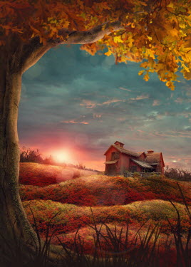 Elena Schweitzer HOUSE IN COUNTRYSIDE AT SUNSET IN AUTUMN Houses