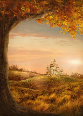 Elena Schweitzer CASTLE IN COUNTRYSIDE IN AUTUMN Miscellaneous Buildings