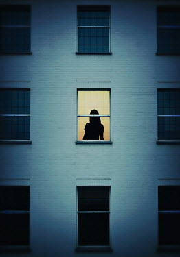 Lyn Randle SILHOUETTED GIRL IN WINDOW AT DUSK Women