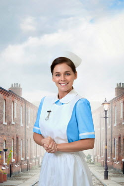 Lee Avison pretty vintage nurse on a terraced street
