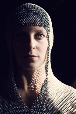Magdalena Russocka close up of medieval woman wearing chainmail